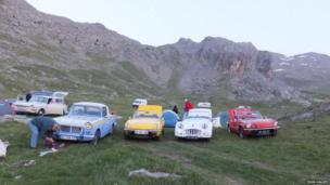 Historic cars at a camp site