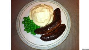 Sausage, mash and peas