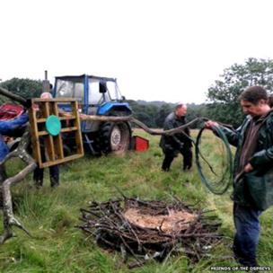 Volunteers building a nest