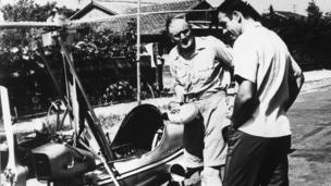 Japan, Tokyo - Sean Connery as Bond and Desmond Llewelyn as Q in a scene from the James Bond movie You Only Live Twice, with the autogyro Little Nellie. 1967