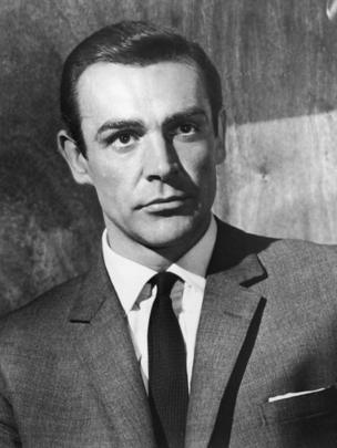 Scottish actor Sean Connery wears a suit jacket and a tie as James Bond in a still from director Terence Young's film, 'From Russia with Love' 1963