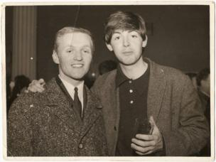 Pete MacLaine and Paul McCartney backstage at the Manchester Apollo in 1963