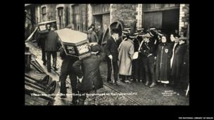 Outside the mortuary at Senghenydd, photograph by W. Benton - © The National Library of Wales