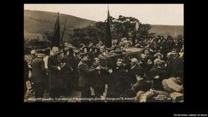 Salvationist pitman's coffin Sargeant E Gilbert, photograph by W. Benton - © The National Library of Wales