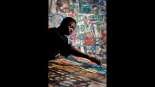 Aboudia painting, photographed by Will Amlot