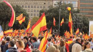 People celebrate Spain's National Day in Barcelona. Photo: Sandeep Raisinghani