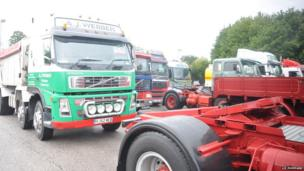 Trucks at Warminster service station