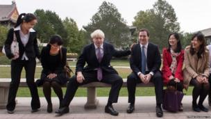 Mayor of London Boris Johnson and Chancellor of the Exchequer George Osborne meet students at Peking University in Beijing