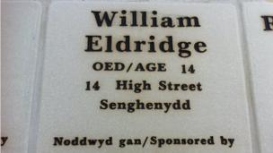The details of those killed in the two Senghenydd disasters were inscribed on tiles, the youngest victim being 14 years old