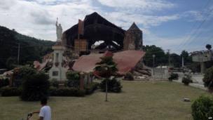 Damage to the roof and structure of the Church of San Pedro in the town Loboc, Bohol