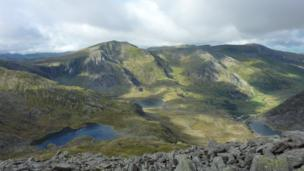 This Snowdonia panorama was taken by Robat Williams from the summit of Tryfan while on a a hike with a friend.