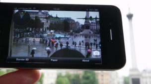 Smartphone app of virtual Dornier bomber in Trafalgar Square