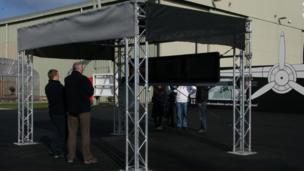 Video screens at Dornier exhibition