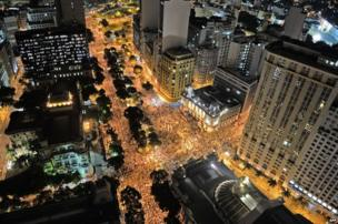 """Aerial view of the """"Teachers"""" day"""" protest in demand of better working conditions and against police violence, on October 15, 2013 in Rio de Janeiro, Brazil."""