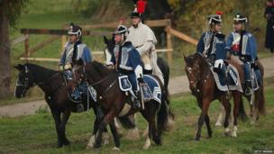 Participants dressed as Saxon Hussars at the re-enactment of the Battle of Leipzig (20 October)