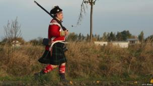 Historical enthusiast dressed as Scottish Northern Highlander, re-enactment of the Battle of Leipzig (20 October)