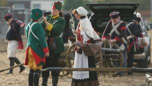 Historical enthusiasts dressed as Saxon artillery, re-enactment of the Battle of the Nations, Leipzig (20 October)