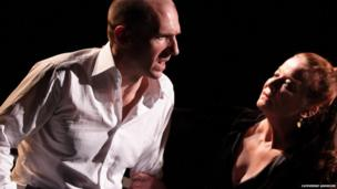 Ralph Fiennes and Clare Higgins in Oedipus