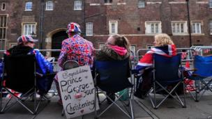 Royalists sitting outside St James's Palace