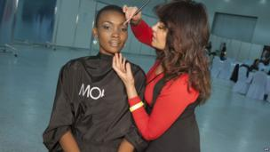 Miss Tanzania 2013, Betty Omara, preparing for a Miss Universe photo shoot, Moscow, Russia - Wednesday 23 October 2013