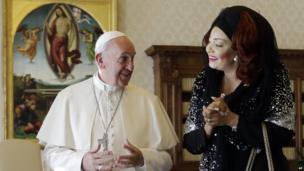 Pope Francis and Chantal Biya, first lady of Cameroon - Friday 18 October 2013