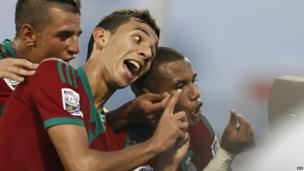 Moroccan U-17 football players celebrate in Fujairah, UAE - Friday 18 October 2013