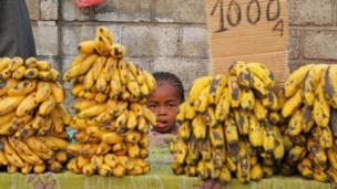 A banana stall in Antananarivo, Madagascar - Wednesday 3 October 2013