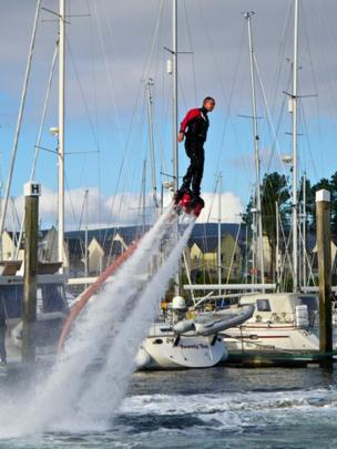 Stunt performer at a boat show