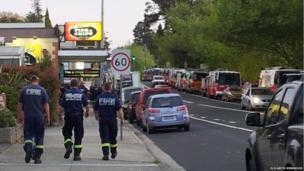 Fire trucks parked up in Blackheath, News South Wales. Photo: Elizabeth Kirkwood