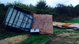 A destroyed pony shelter.