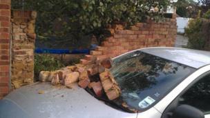 Fallen bricks on a car in Maidenhead