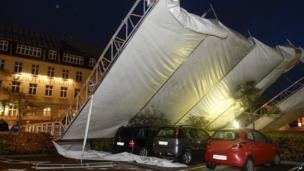 A marquee is blown over turned by heavy winds in Aabenraa, southern Jutland, Denmark (28 October 2013)