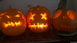 Three pumpkins created by Elliot Skelcher in Oxford