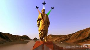A still image from video shows an artist's rendering of a statue of Sardar Vallabhbhai Patel, to be constructed in the western Indian state of Gujarat