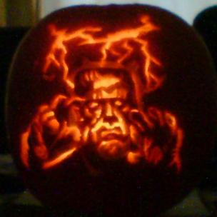 Pumpkin with Frankenstein carving