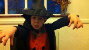 Aisling dressed in Halloween costume