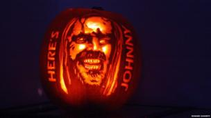 Pumpkin carved to look like Jack Nicholson's character in The Shining.