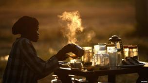 A woman making tea in Abyei - Tuesday 29 October 2013