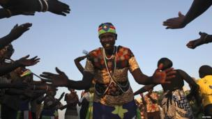 A woman dances in celebration at Abyei's referendum result - Thursday 31 October 2013