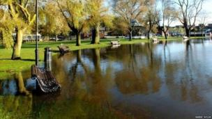 Flooded park in Christchurch