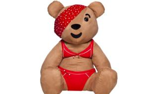 Bear in a bright red bikini and bandana.