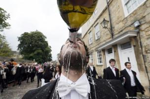 "A student from University College Oxford getting ""trashed"" after finishing his exams"