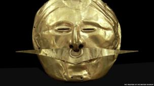 Mask with nose ornament, Quimbaya, gold alloy, 500 BC – AD 1600.