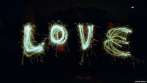 Love spelt using sparklers