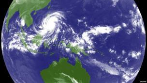 Typhoon Haiyan hits the Philippines in this weather satellite image, taken at 0200 UTC 8 November 2013