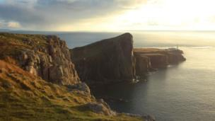 Neist Point Lighthouse and the Little Minch towards the Outer Hebrides