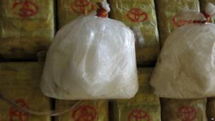 Crystal methamphetamine trafficked from Burma is put on display in Bangkok, Thailand