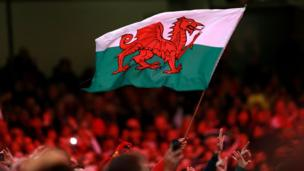 A Wales flag flies in the crowd