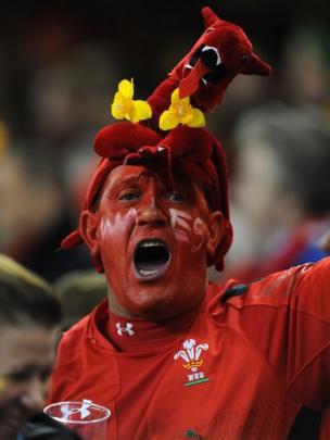 Wales fan dressed as dragon