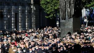 Veterans walk down Whitehall
